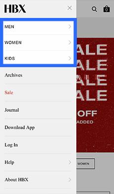 「MEN」「WOMEN」「KIDS」のいずれかをタップ